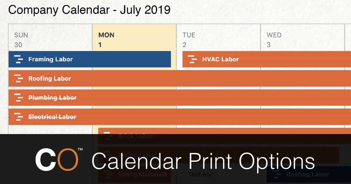 New Calendar Print Options Now Available in ConstructionOnline™