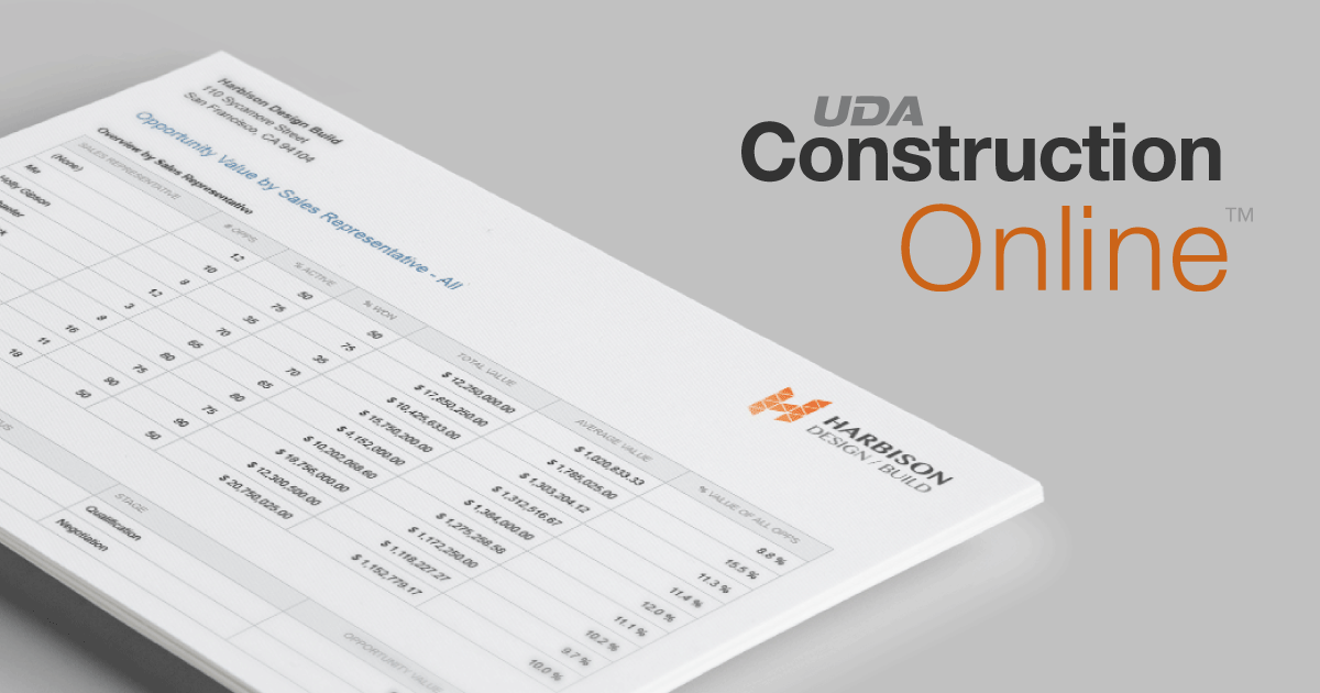 New Sales Reports Released for ConstructionOnline™ Opportunities