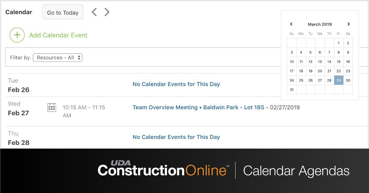 ConstructionOnline 2019 Presents New Agenda View for Calendars