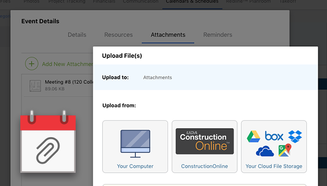 ConstructionOnline Calendar Events Now Support Attachments