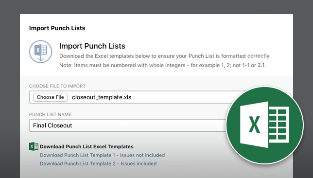 New Excel Imports & Exports Available for ConstructionOnline Punch Lists & Checklists