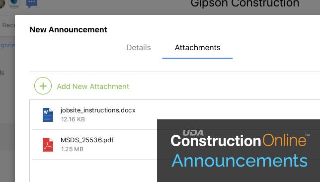 ConstructionOnline Announcements Now Support Attachments