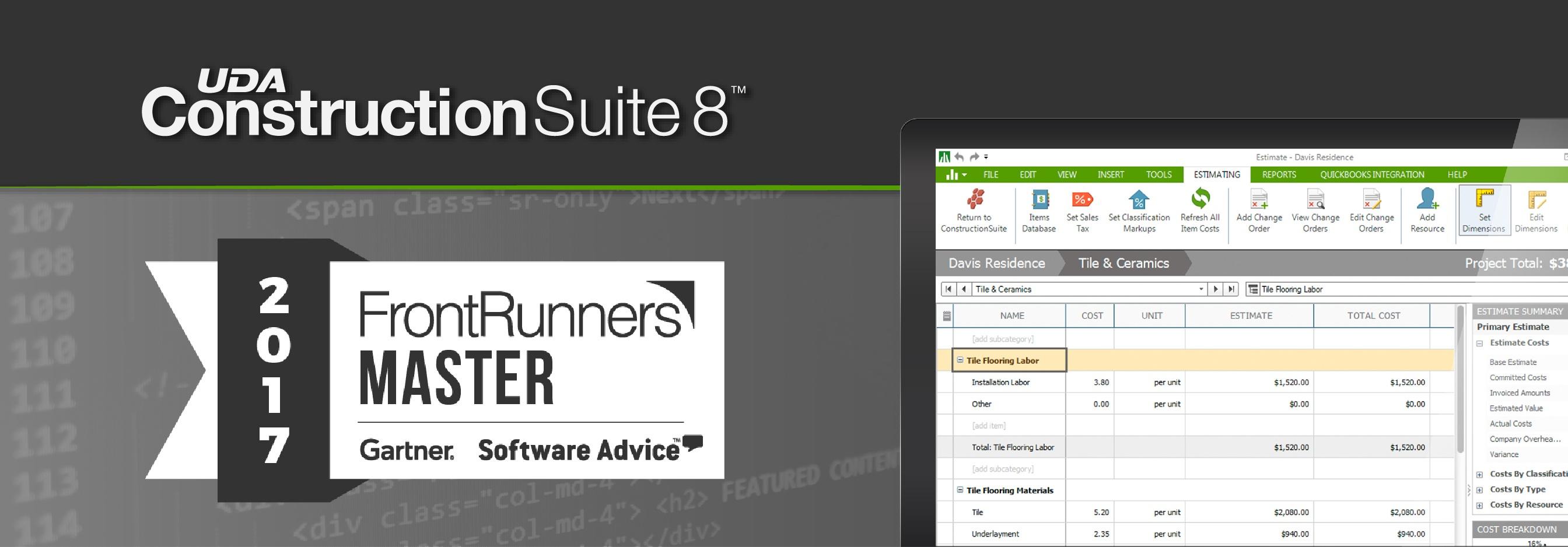 ConstructionSuite 8 Awarded 2017 FrontRunners Master Designation