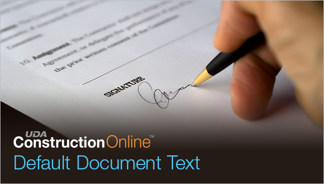 Customize ConstructionOnline Contracts with New Default Text Options