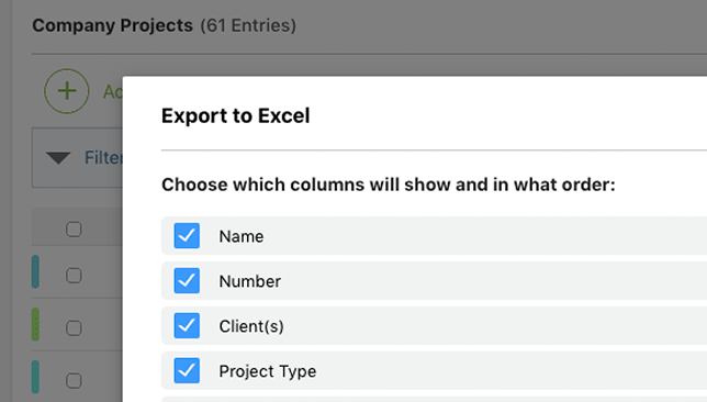Conveniently Export ConstructionOnline Projects Table to Excel
