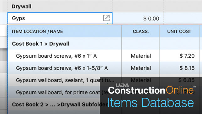 New Feature Spotlight: Items Database and Costbooks for ConstructionOnline Estimating