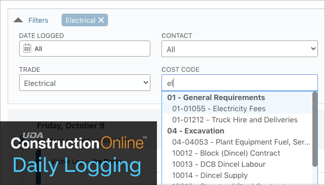 Advanced Filters Added to Daily Logging in ConstructionOnline