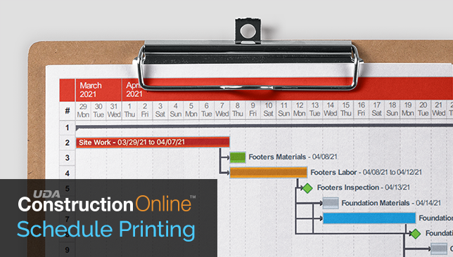 Options Updated for Printing Construction Gantt Chart Schedules