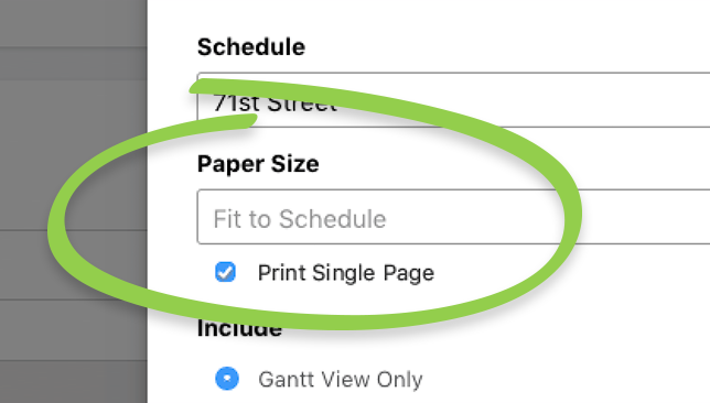 New Single Page Print Option Available for Construction Gantt Chart Schedules