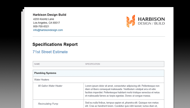 New Specifications Report Now Available for Advanced Construction Estimating Online