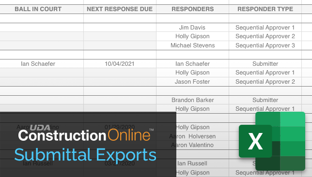 Enhanced Export to Excel Available for ConstructionOnline Submittals