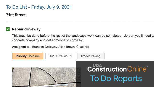 Construction To-Do List Report Enhanced to Provide Additional Details